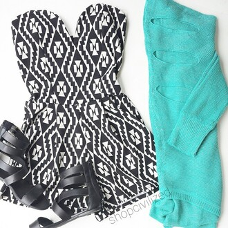 romper jumpsuit/rompers black and white black and white romper black white black romper strapless strapless romper aztec aztec print romper black and white aztec print teal sweater ripped sweater ripped cutout sweater sandals gladiators turquoise turquoise sweater teal sweater back cut outs back cutout