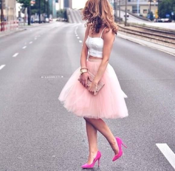 pink skirt white crop tops