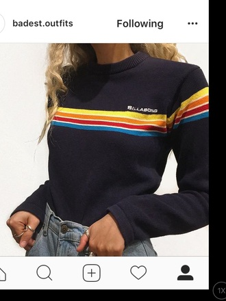 sweater navy billabong stripes
