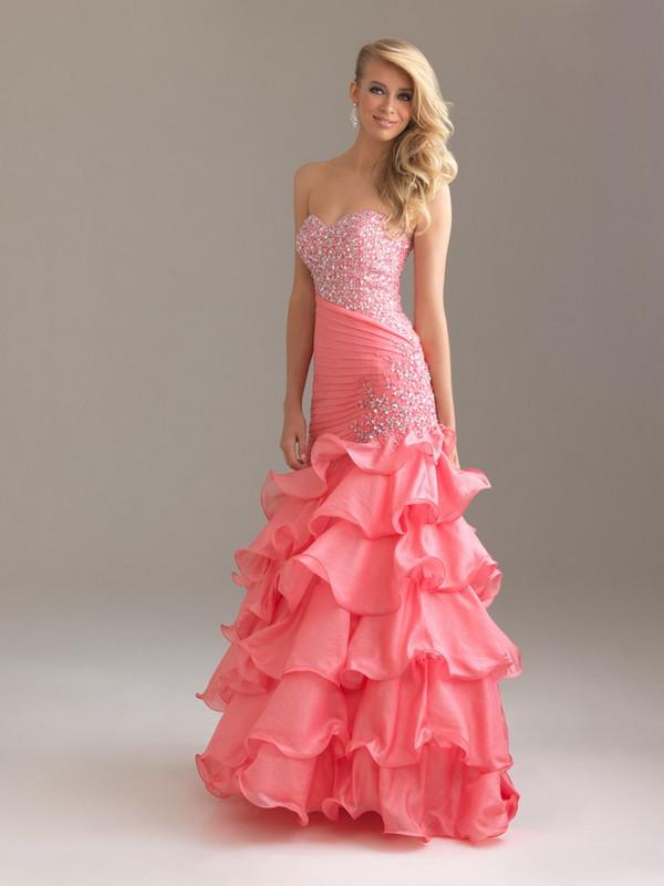 dress strapless sweetheart neckline mermaid prom dress pink dress beaded long dress