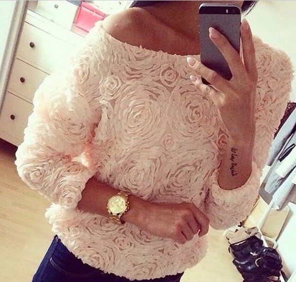 t-shirt shirt pink dress roses light flowers top chiffon blouse oversized jumper pink roses sweater blouse t-shirt rose top 3d rose top sweater vintage flower sweather white fashion style textured top pastel rose off the shoulder top cute girl girly 3d sweatshirts musthave
