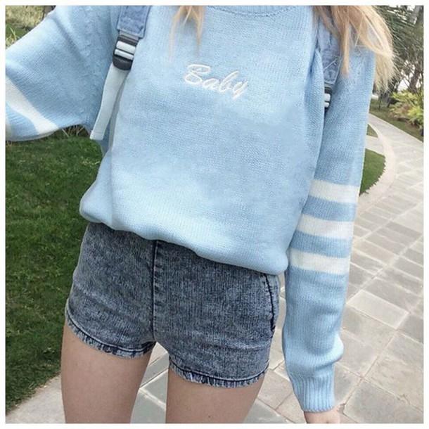 sweater, it girl shop, baby blue, denim shorts, casual ...