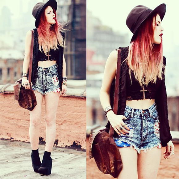 crop tops shorts bag blouse