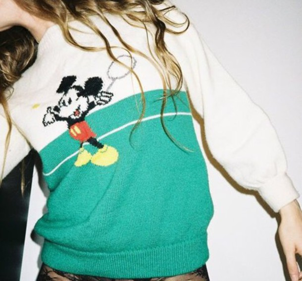 sweater green white mickey mouse tennis grunge