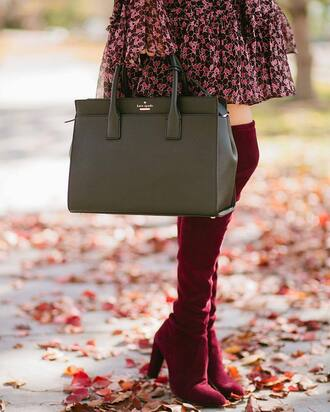 shoes tumblr red boots high heels boots over the knee boots bag khaki green bag fall outfits fall colors pointed toe boots