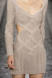 dress,sweater,cut-out dress,long sleeve dress,mini dress,knitwear,knitted dress,short dress,beige dress,sweater dress,knitted sweater