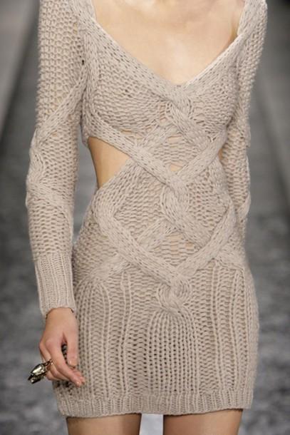 dress sweater cut-out dress long sleeve dress mini dress knitwear knitted dress short dress beige dress knitted dress sweater dress knitted sweater