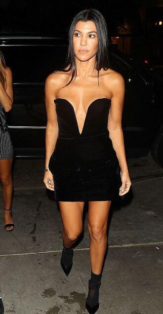 dress black dress little black dress kourtney kardashian kardashians mini dress velvet