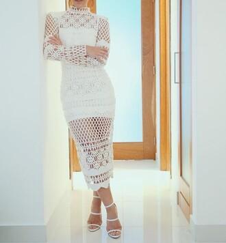 dress white dress crochet dress midi dress bodycon dress