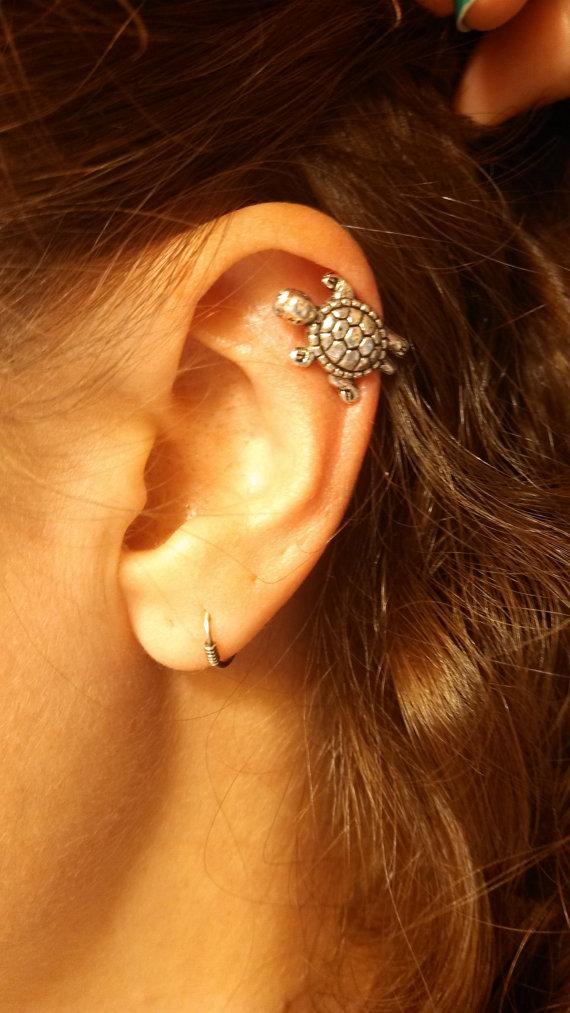 Silver turtle cartliage earring tragus helix piercing