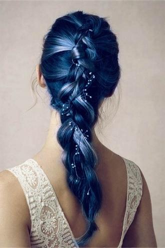 hair accessories hairstyles pastel hair braid blue hipster wedding hair/makeup inspo