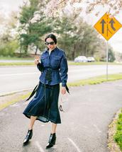 skirt,denim,denim skirt,top,denim shirt,shoes,black shoes,sunglasses,bag