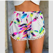 pants,shorts,clothes,feathers,pom poms,pom pom shorts,girly,cute,bottoms,beach shorts,colorful shorts,neon,short white green blue,printed shorts,white shorts,white,summer,tumblr outfit,floral,style,fashion,bright,floral tank top,short,High waisted shorts,summer outfits,summer dress,summer shorts,white crop tops,summer top,summer accessories,colorful,color/pattern