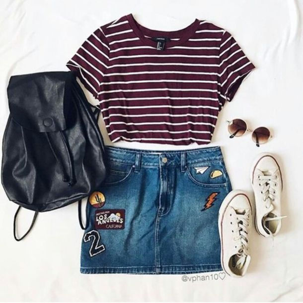 skirt converse white converse low top sneakers mini skirt denim skirt button up denim skirt crop tops crop cropped cropped shirt stripes striped top striped t-shirt clothes tumblr tumblr outfit tumblr clothes tumblr shirt tumblr skirt tumblr shoes round sunglasses sunglasses ootd outfit outfit idea shirt