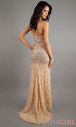 Strapless Beaded Evening Gowns, Jasz Long Prom Dress- PromGirl