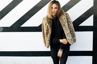 fashion leopard print style blogger jeans jacket coat leopard print coat winter coat vogue