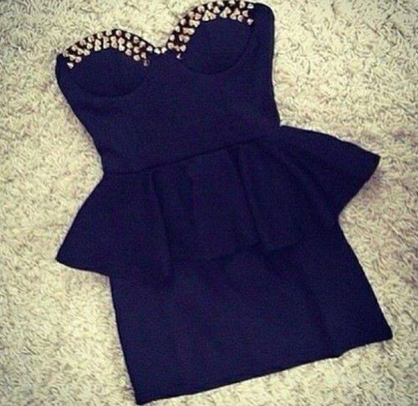 dress black dress studs basque waist