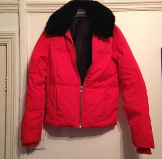 coat puffercoat red fur fur coat