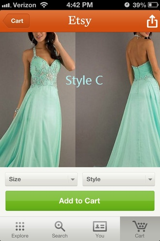 dress prom dress clothes women's halter dress mint