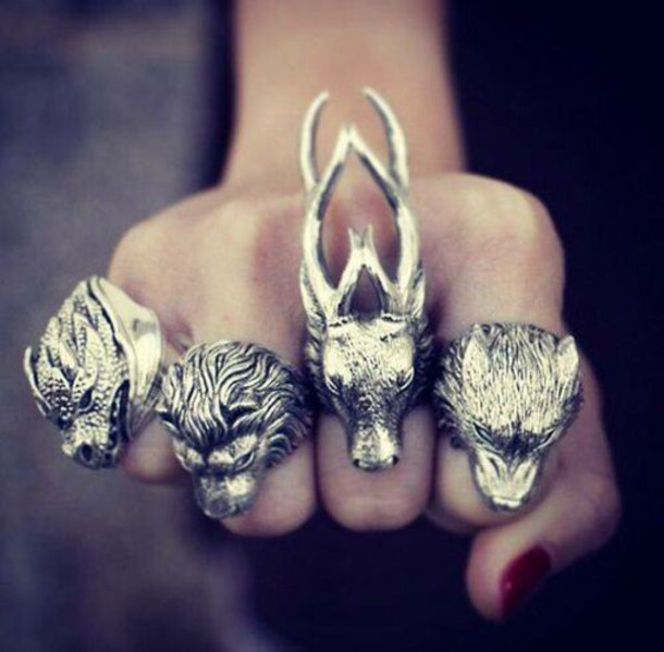jewels wolf dragon lion aristocrazy game of thrones ring deer silver animals silver. Black Bedroom Furniture Sets. Home Design Ideas