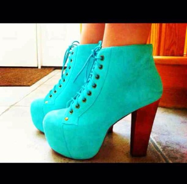 Shoes: baby blue heel boots lace up heels sexy cute high heels