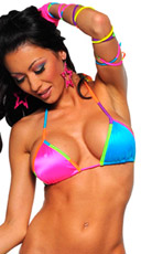 Go bottoms set, multicolored triangle top set, yellow and orange cup party top and bottom set, rainbow trim dance wear, exotic dance wear sets