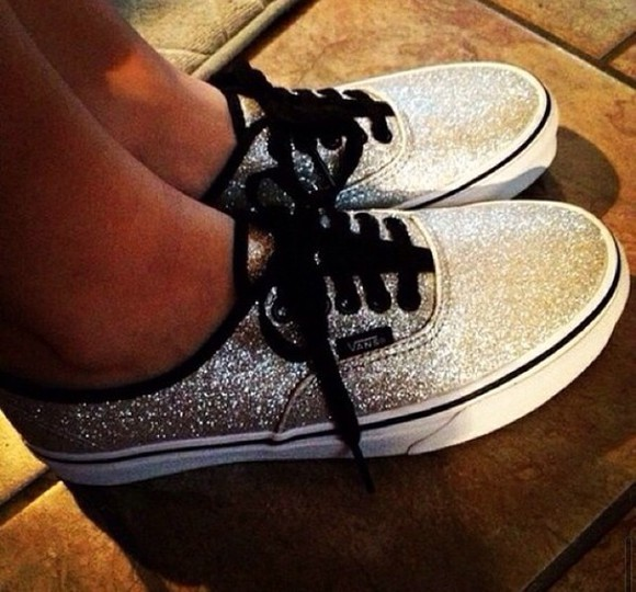 silver shoes vans sparkle shoes flats skate shoes sneakers vans sneakers