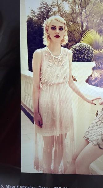 dress white long dress 1920s lace dress