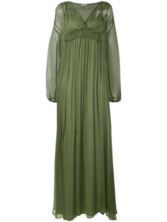 dress maxi dress maxi women layered silk green