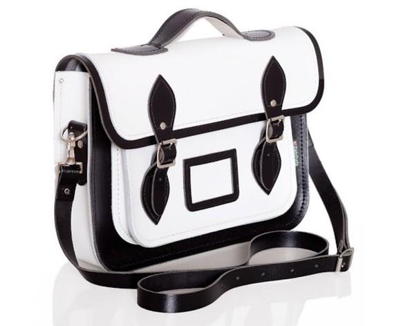bag leather bag leather black and white buckles handbag