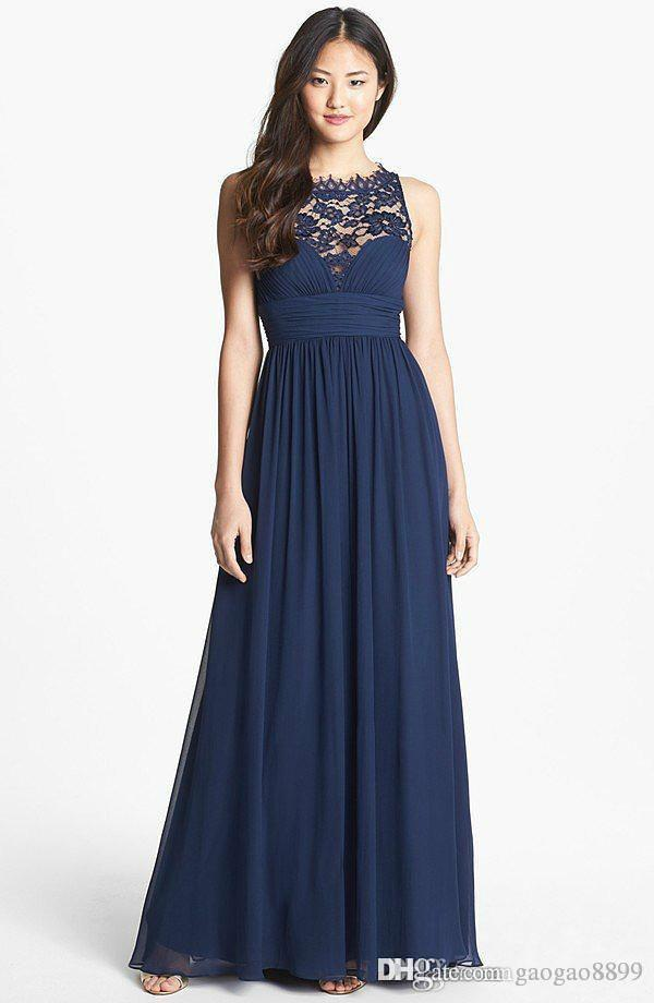 Wedding Guest Dresses Plus Size Summer : Dark navy blue long wedding guest bridesmaid dresses lace