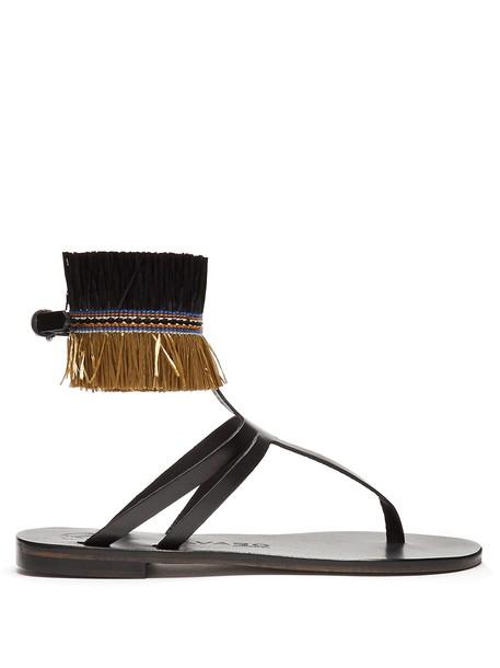 ÁLVARO embellished sandals leather sandals leather black khaki shoes