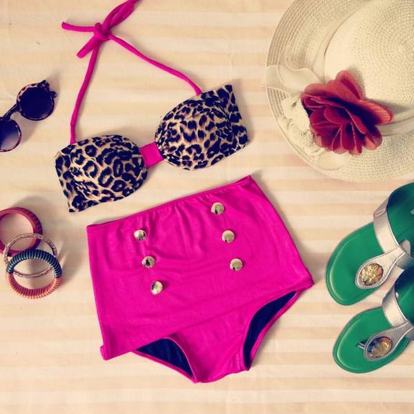 swimwear leopard print leopard swimwear vintage swimwear high waist swimsuit high waist swim pink pink and leopard pink swimwear retro swimsuit leopard print bikini high waisted bikini