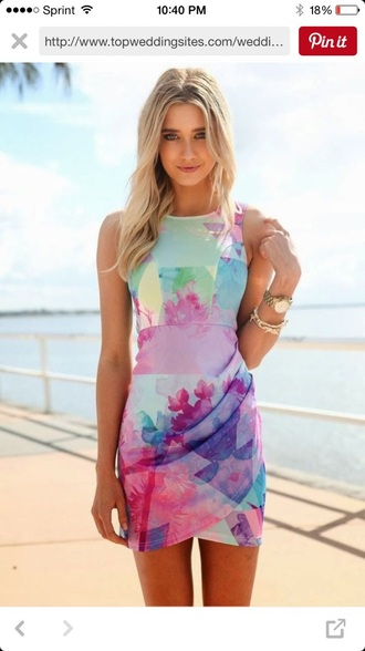 dress multi colored sleeveless dress
