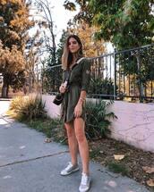dress,shirt dress,military style,mini dress,sneakers,crossbody bag