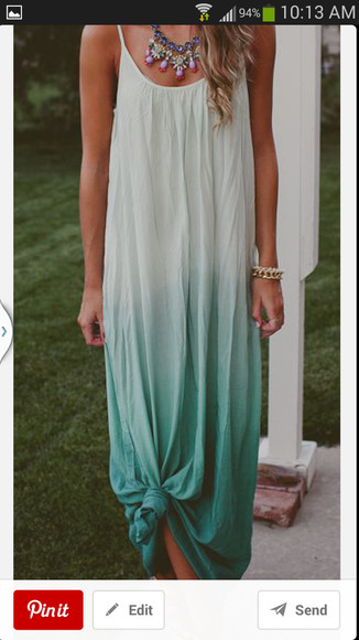 dress maxi dress aqua blue ombre dress white dress summer dress
