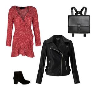 dress polka dots mini dress red dress ruffle dress biker jacket ankle boots backpack leather backpack