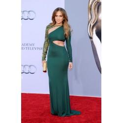 Jennifer Lopez Green Long Sleeve Formal Prom Dress 2011 British Academy Film Awards Red Carpet