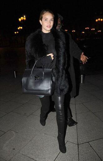 pants leather pants rosie huntington-whiteley model all black everything black boots coat purse streetstyle leggings shoes fashion week fashion week 2016