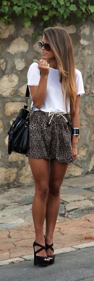 platform shoes boots high heels black heels style classy hot streetwear streetstyle summer outfits denim top t-shirt sunglasses bag leopard print print white t-shirt white crop tops