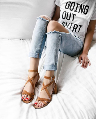 jeans ripped jeans light blue jeans casual suede sandals graphic tee thick heel medium heels red nails shoes tumblr sandals mid heel sandals denim t-shirt white t-shirt quote on it