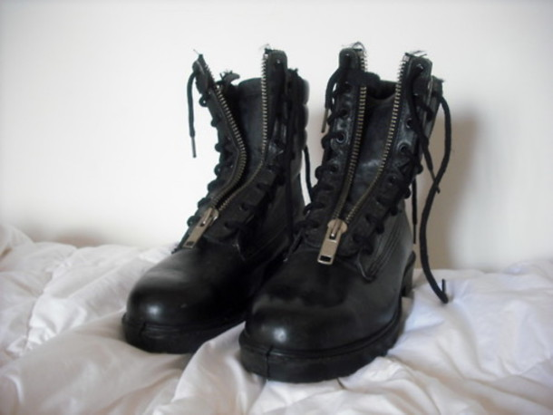 Shoes: leather, zipper boots, black, combat boots - Wheretoget