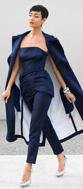 top,All blue outfit,all blue,pants,blue pants,blue top,tube top,coat,blue coat,pointed toe pumps,pumps,silver pumps,spring outfits,All navy blue outfit