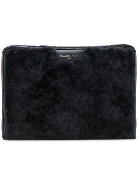 Balenciaga fur fox women pouch leather black bag