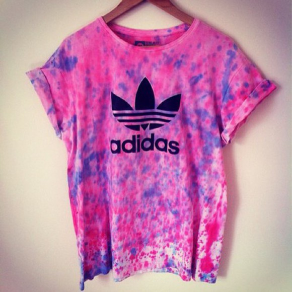 adidas t-shirt adidas top tshirt with text tshirt, shirt, tee, top, white, grey, tanktop, starbucks, logo pink purple batik batik print batic paint painting