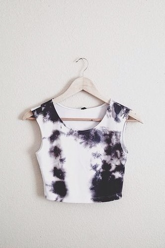 blouse black white crop tops white crop tops top tie dye