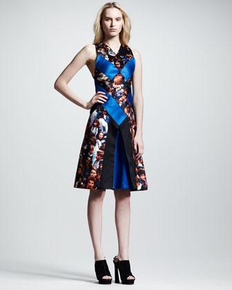 Proenza Schouler Protest-Print Silk Flare Dress - Neiman Marcus