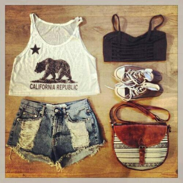 bag shorts purse shirt california brown hipster cute summer fashion aztec High waisted shorts converse bandeau crop tops blouse hat