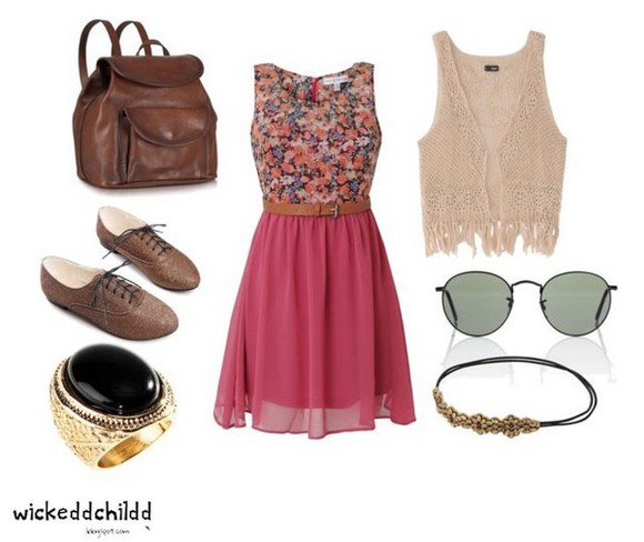 oxfords sunglasses dress cream ring headband vest backpack pink brown gold black Belt girly