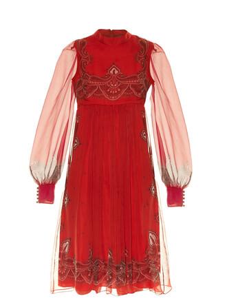 dress babydoll dress print paisley red